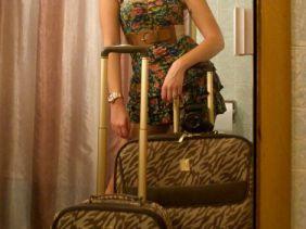 Anne Klein's Lion's Mane luggage set.