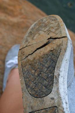 I walk on broken shoes....
