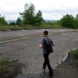 Kyle makes our first few steps onto this abandoned section of PA route 61.