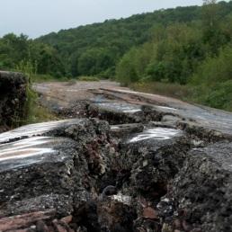 A broken road.