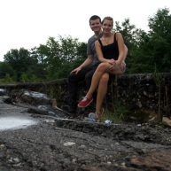 Kyle & Betty taking a seat in the broken ground of old route 61.