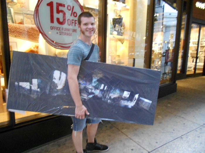 Kyle's such a good sport about carrying this onto the subway for me.