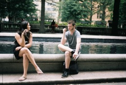 Ally and Kyle chat it up at Rittenhouse Square.