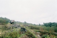 Caught on film - Kyle shoots the steaming heaps and fissures of Centralia.