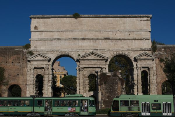 Porta Maggiore leads two major roads into Rome and houses two of the city's seven aqueducts.