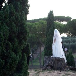 Roman bride posing on a tree stump.