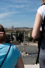 Shooting down on the Piazza del Popolo from the Pincio in photo class.