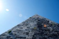 Pyramid of Cestius from 18-12 BC, infamous for being a marker of the PIramide metro stop.