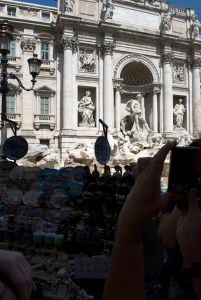 The tourist-laden Trevi Fountain.