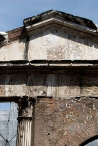 Portico d'Ottavia ruins in the midst of conservation.