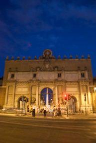 Piazza del Popolo at night.