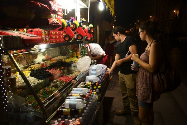 Late night fruit shopping at one of the many vendors.