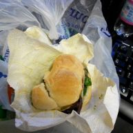 I brought my own lunch! Ham panino with pesto & greens.