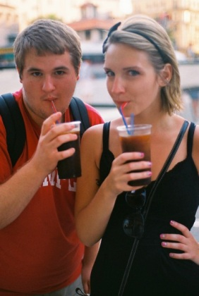 After a long day, Adam, some friends, and I got large Granite di caffè - Italy's iced/frozen coffee.