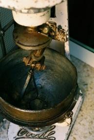 Old fashioned mixer outside La Bottega del Dolce.