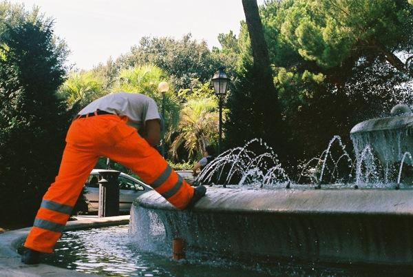 He fixed the fountain!