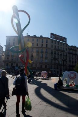 Needle and thread sculpture by Claes Oldenburg at the Cadorna stop. It represents the Milan metro system. by Claes Oldenburg