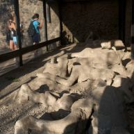 PLaster casts made from the human-fossils in the volcanic ask after the eruption of Mt. Vesuvius in 79 AD.