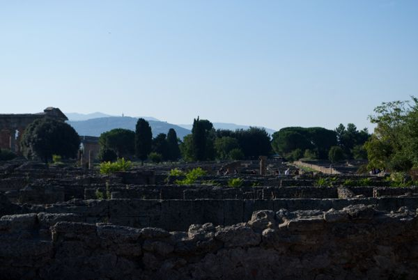 Marching through the ruins of Paestum.