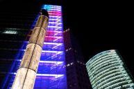 Downtown Berlin, Deutsche Bahn building and lights.