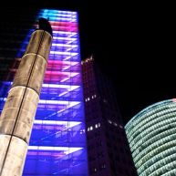 Downtown Berlin, Deutsche Bahn building and lights.