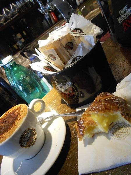 Breakfast at Caffe Vergnano in Terracina.