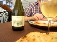 Birthday lunch of pizza in Naples with Pompeiin vino bianco.