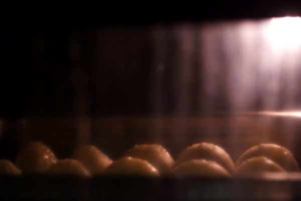 Baking the shells for about 10 minutes at 218° C (425° F).