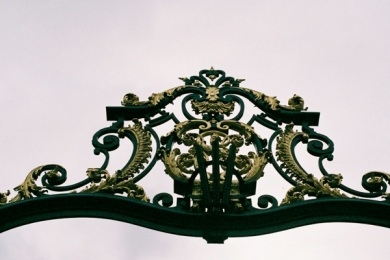 You would never guess this beautiful gilded gate was the portal to the first Abercrombie & Fitch in France....