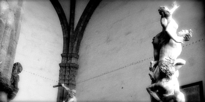 Giambologna's Rape of a Sabine, Loggia dei Lanzi, Pizza della Signoria, Firenze.