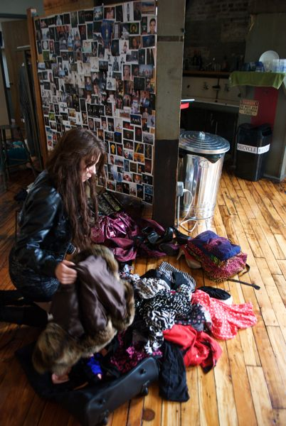 Aash Leigh and her enormous explosion of clothes.