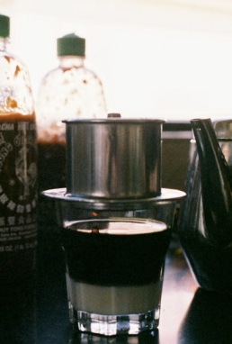 Drip drop Vietnamese iced milk coffee.