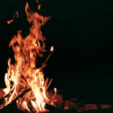 Burning twigs.