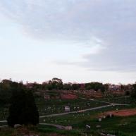 Mount Moriah cemetery & the Philadelphia skyline.