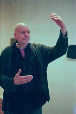 John Gatti dances for us in Larry Becker's gallery.