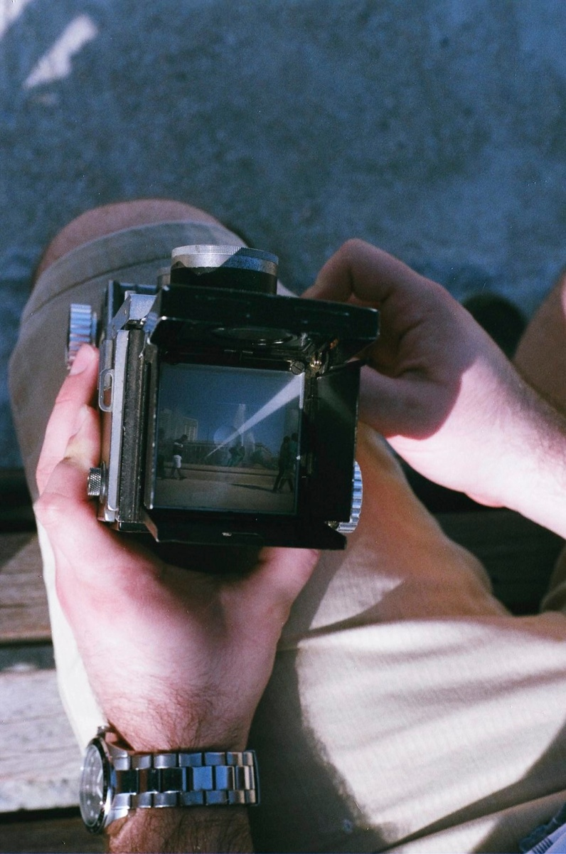 As seen through the viewfinder of the Mamiyaflex.