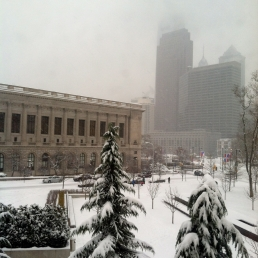 The Philadelphia skyline and Free Library in the first snow of the year.