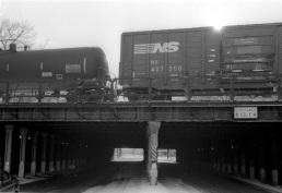 Train on the edge of a massive trestle in Kensington.