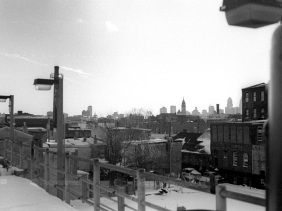 Philadelphia skyline as seen from the Berks station on the Market Frankford line.