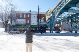 "Andy Smith shoots ""One Pound Cheesesteak"" from across Lehigh Avenue."
