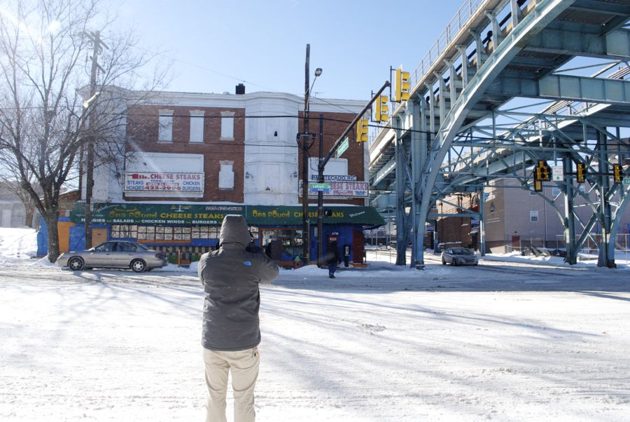 """Andy Smith shoots """"One Pound Cheesesteak"""" from across Lehigh Avenue."""