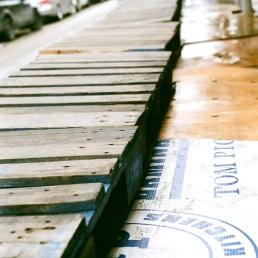 Empty stands of the Italian Market, Philadelphia.