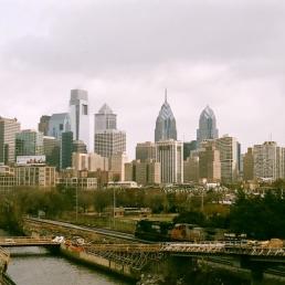 Philadelphia and a temporary bridge.