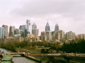 Philadelphia and a temporary bridge.