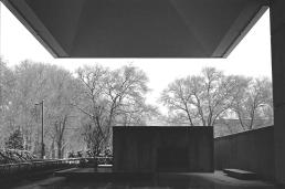 Snow around the west terrace, Barnes Foundation.