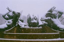 Swann Memorial Fountain in the snow, southeast.