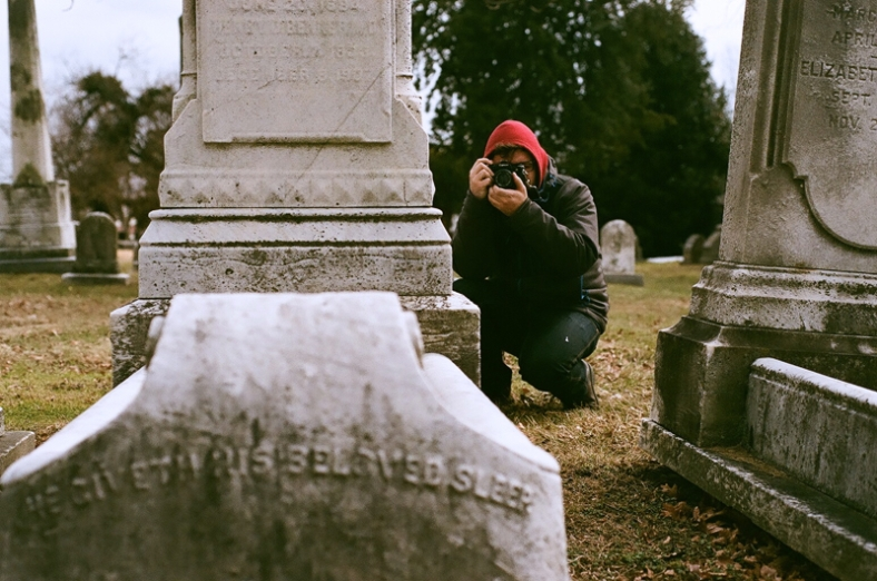 Andy Smith shoots me Instagramming for #TombstoneTuesday.