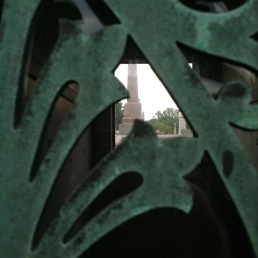 Through the mausoleum door.