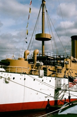 The U.S.S. Olympia, docked in Philadelphia.