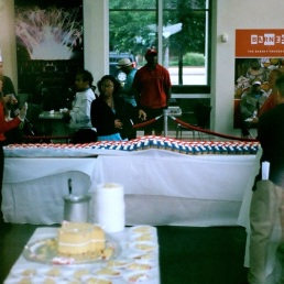 America flag cupcake spread at the Independence Visitor Center, thanks to Termini Brothers.